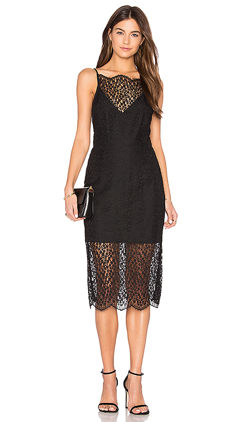 keepsake Day Dream Lace Midi Dress in Black
