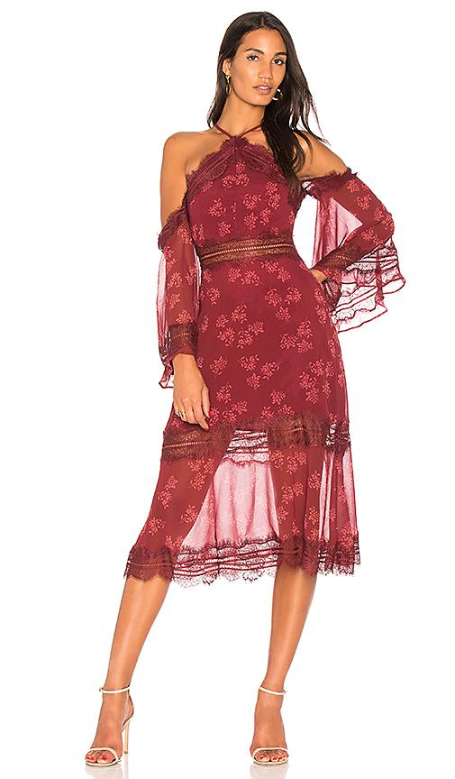 keepsake Moonlight Midi Dress in Red