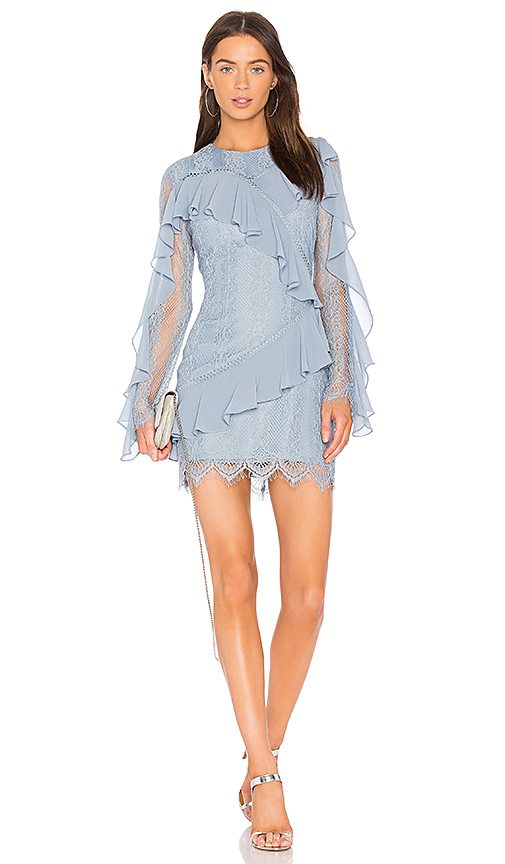 keepsake Better Days Lace Ruffle Dress in Blue. - size S (also in M,XS, XXS)