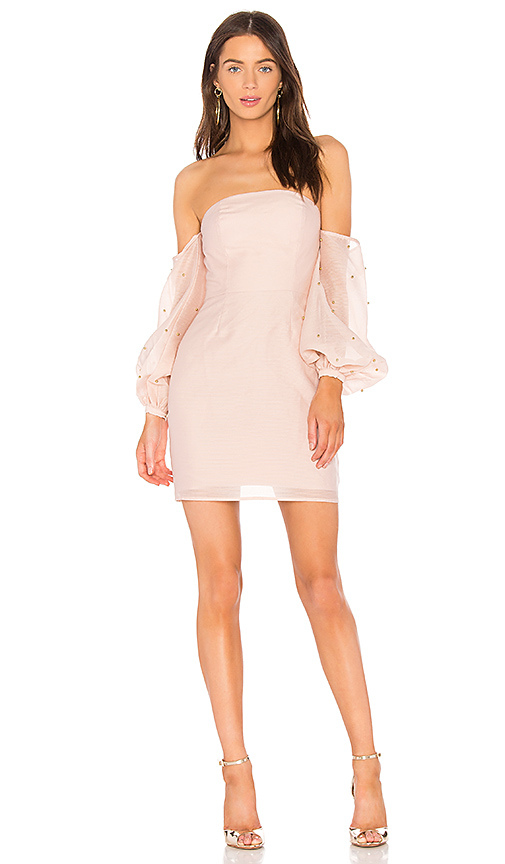 keepsake Call Me Off the Shoulder Dress in Blush. - size S (also in L,M,XS)