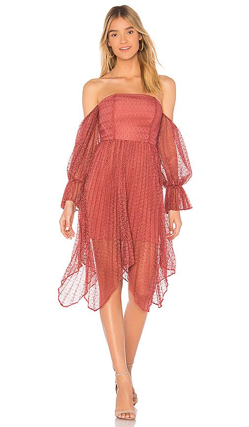keepsake Ignite Off the Shoulder Dress in Red