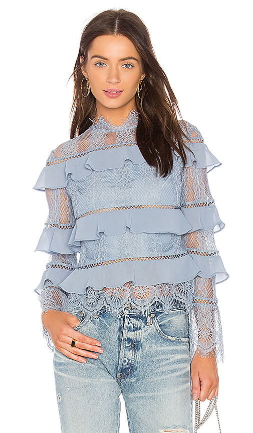 keepsake Better Days Lace Ruffle Blouse in Blue. - size S (also in M,XS)