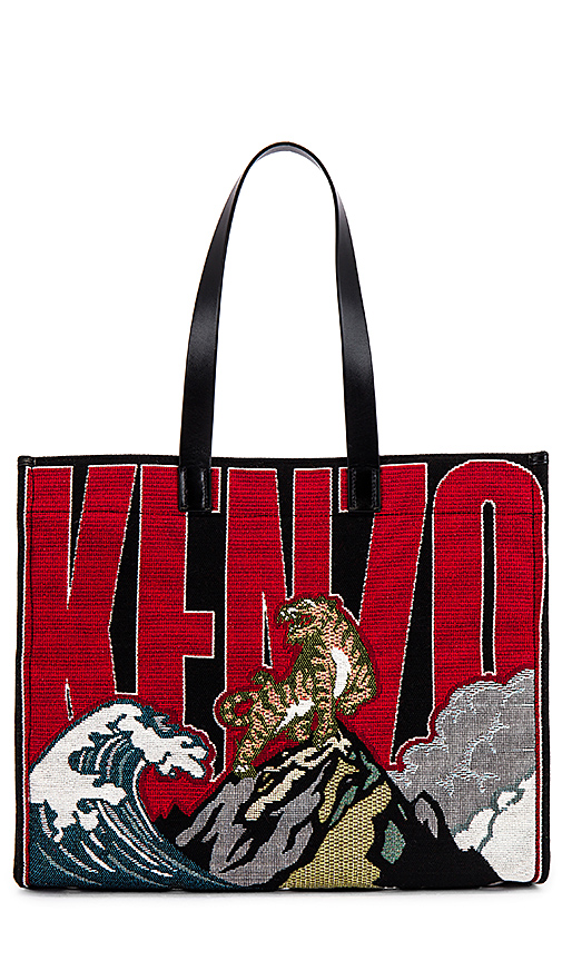 Kenzo Placed Tiger Jacquard Tote In Black,red. In Multicolor
