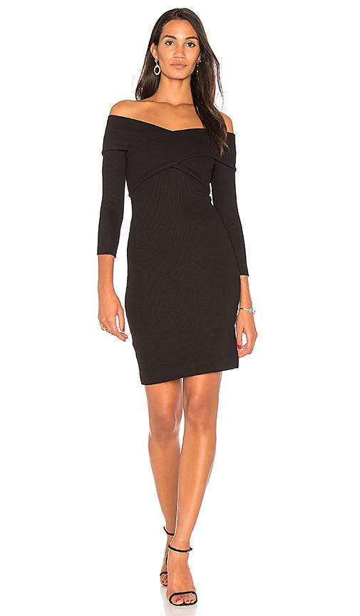 L'AGENCE Fantina Shoulder Wrap Dress in Black. - size L (also in M,S,XS)