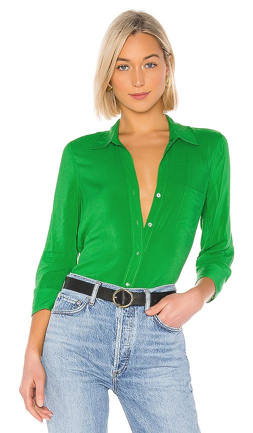 L'agence Tops L'AGENCE RYAN 3/4 SLEEVE BLOUSE IN GREEN.