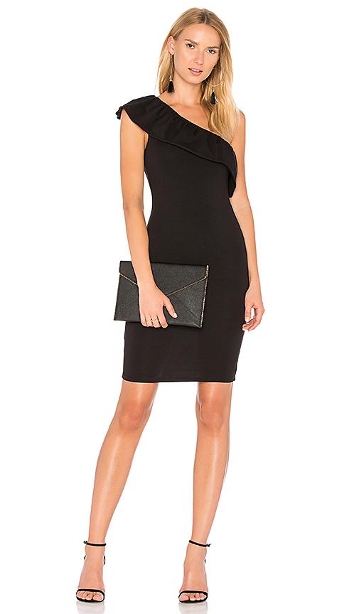 LA Made Felicity One Shoulder Dress in Black