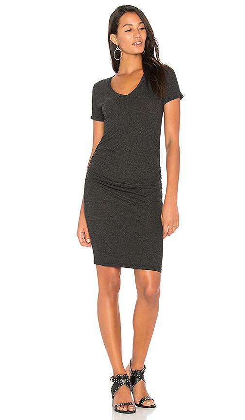 Lanston Ruched T Shirt Dress in Black