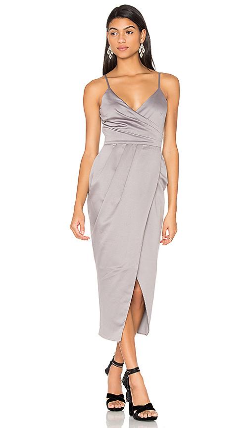 Lavish Alice Satin Wrap Midi Dress in Gray. - size UK 10 / US M (also in UK 6 / US XS, UK 8 / US S)