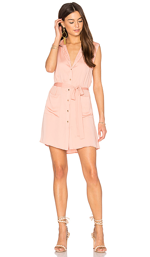 L'Academie The Sleeveless Shirt Dress in Peach