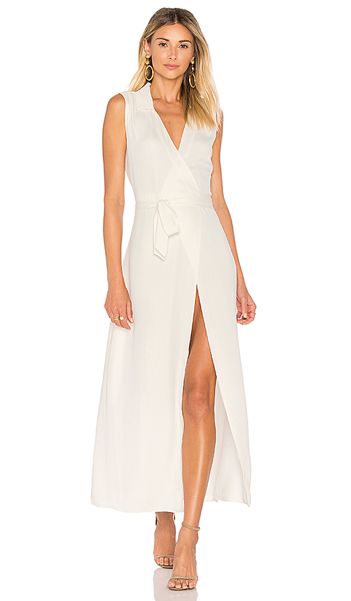 L'Academie The Sleeveless Wrap Dress in Ivory