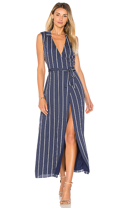 L'Academie The Wrap Dress in Navy. - size L (also in M,S,XL, XS)