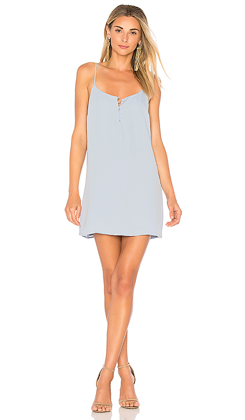 L'Academie The Mini Slip Dress in Baby Blue