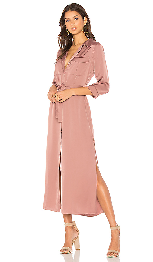 L'Academie The Long Sleeve Shirt Dress in Rose