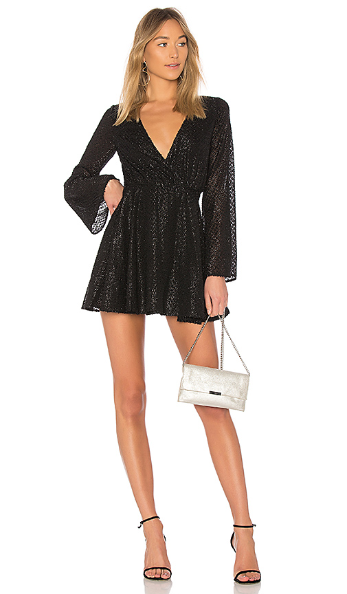L'Academie The Wrap Mini Dress in Black. - size XXS (also in XS,S,M,L)