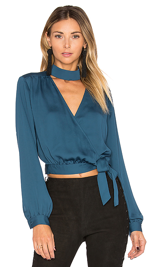 L'Academie The High Collar Wrap in Blue