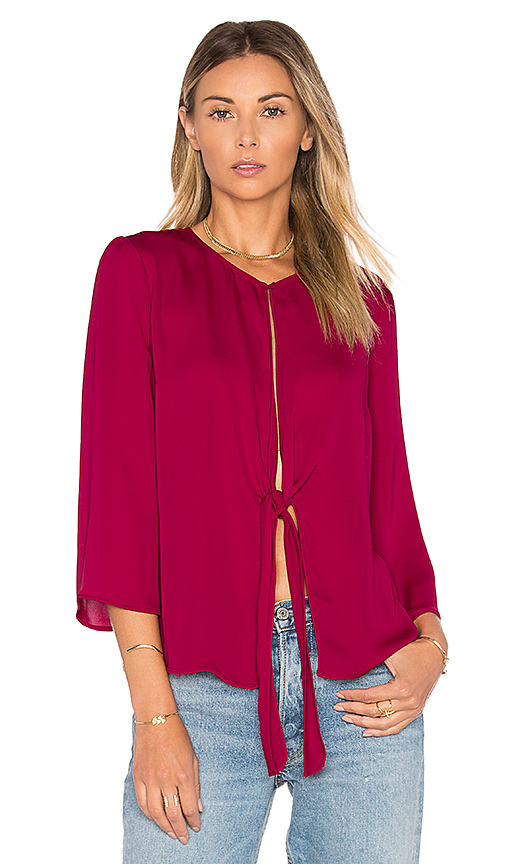 L'Academie the Low Knot Blouse in Burgundy