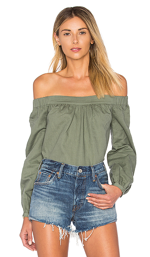 L'Academie The Romantic Linen Top in Olive