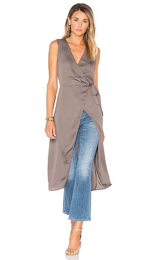 L'Academie The Hi-Low Wrap Blouse in Gray