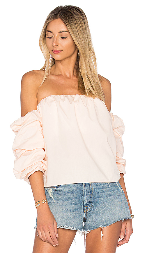 L'Academie x REVOLVE The Puff Sleeve Blouse in Pink. - size L (also in M,S,XL, XS)