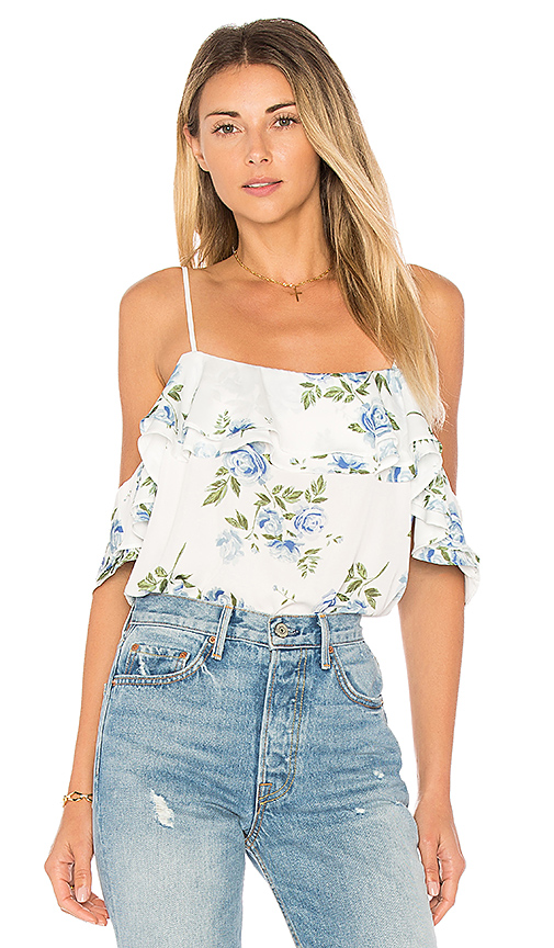 L'Academie The Off Shoulder Bodysuit in White