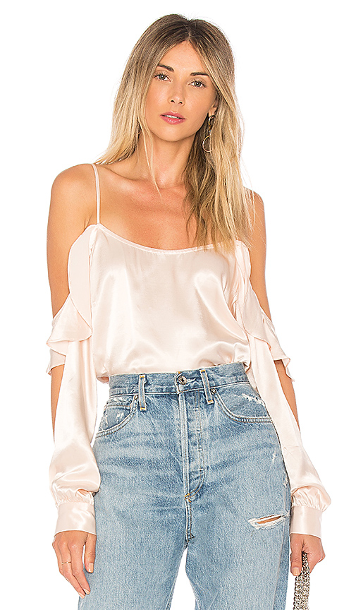 L'Academie The Open Sleeve Blouse in Beige