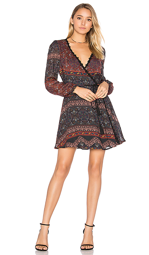 Line & Dot Dakota Wrap Dress in Rust. - size L (also in M,S,XS)