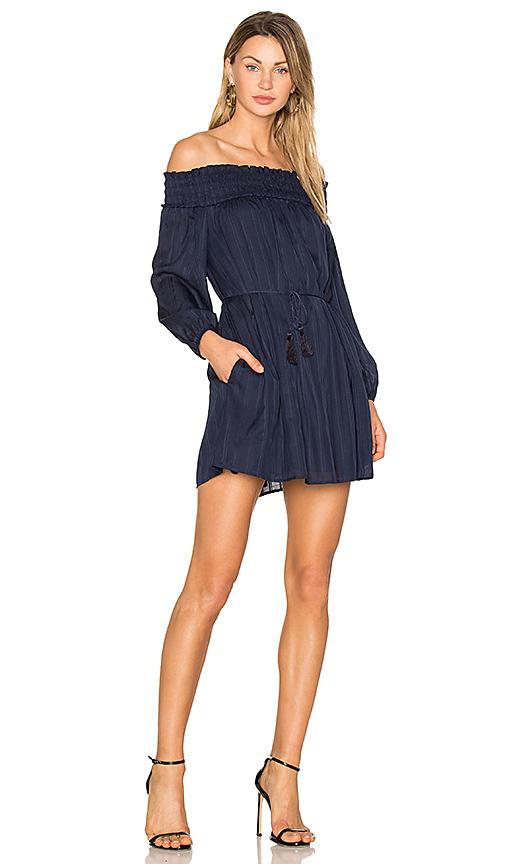 Line & Dot Desi Off the Shoulder Dress in Navy. - size L also in M