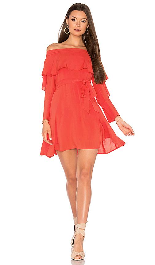 Line & Dot Raquel Off Shoulder Dress in Orange. - size M also in XS