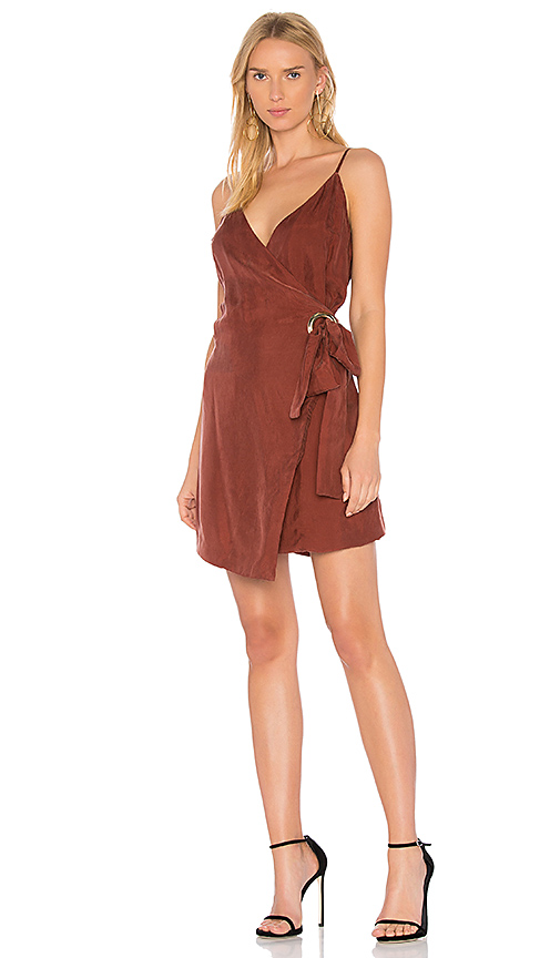 Line & Dot Rue Wrap Dress In Rust in Rust. - size L (also in M,S,XS)