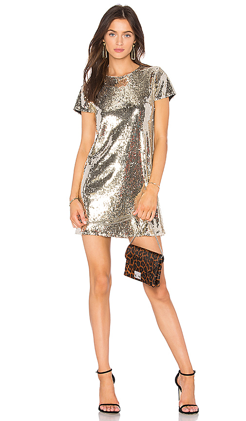 Line & Dot Soleil Sequin Dress in Metallic Gold. - size L also in S,XS