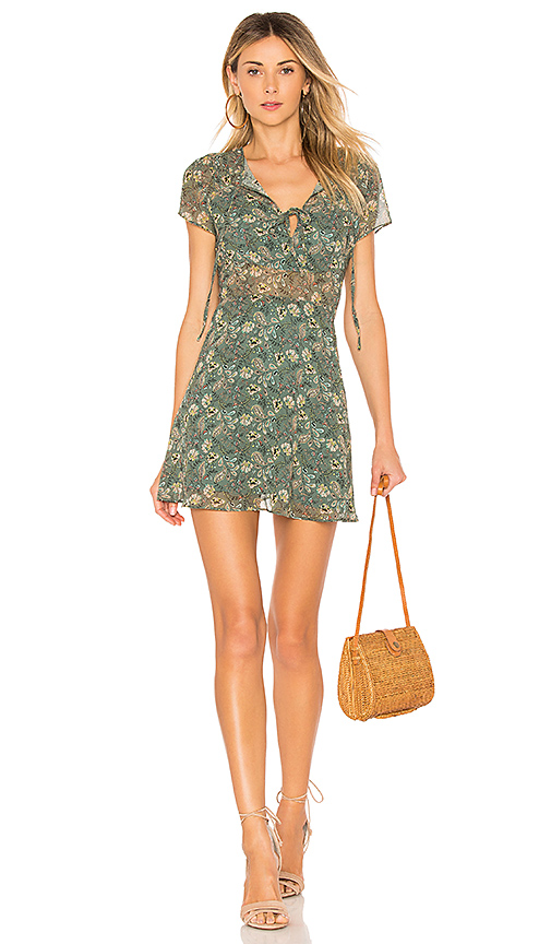 Line & Dot Phyly Mini Dress in Green. - size L also in M,S,XS
