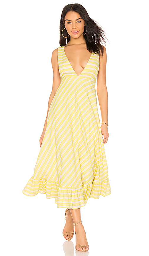 Line & Dot Ali Ruffled Hem Dress in Yellow. - size M also in S,XS,L