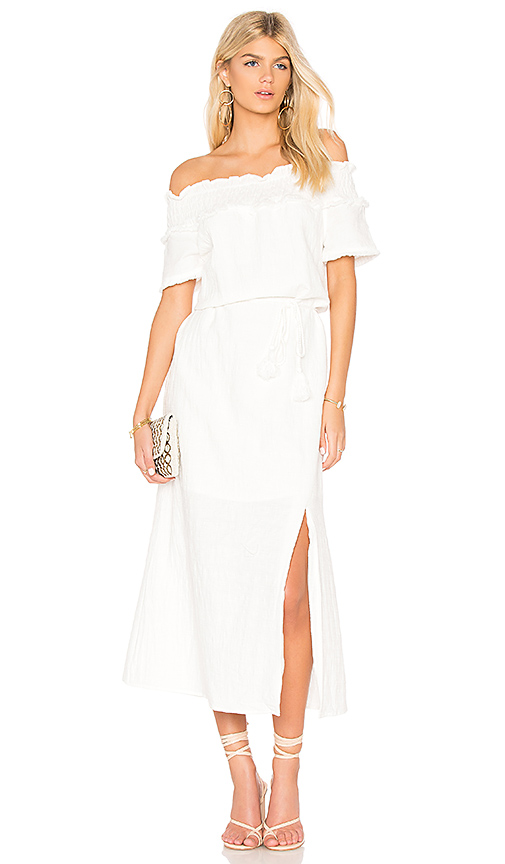 Line & Dot Peony Off Shoulder Dress in White. - size M also in XS,S,L