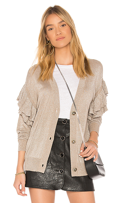 Line & Dot Hull Ruffled Cardigan in Beige. - size L also in M,S,XS