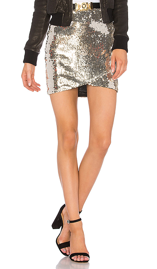 Line & Dot Soleil Sequin Skirt in Metallic Gold. - size M also in L,S,XS
