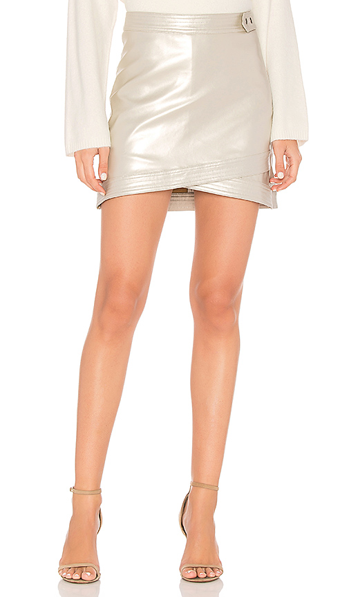 Line & Dot Dempster Mini Skirt in Metallic Silver. - size S also in XS,L