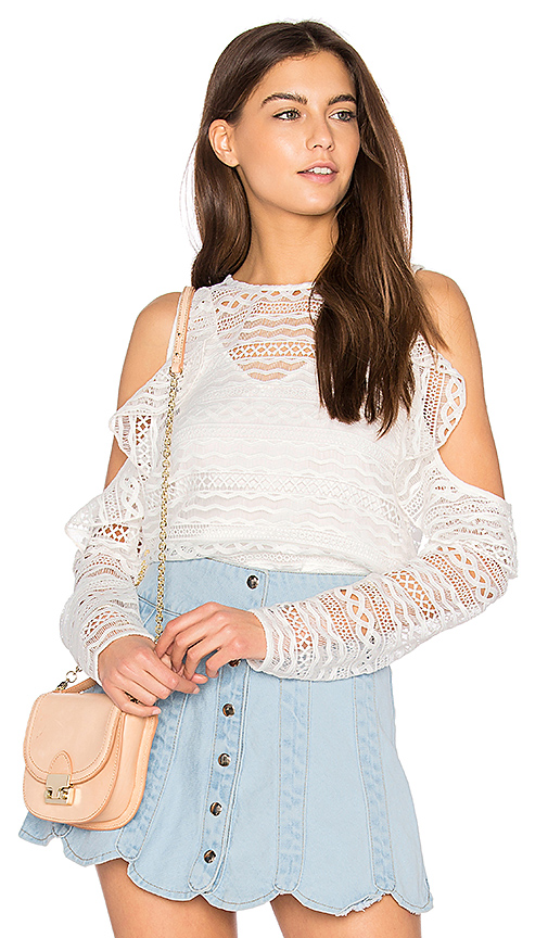 Line & Dot Daiguiri Cold Shoulder Top in White