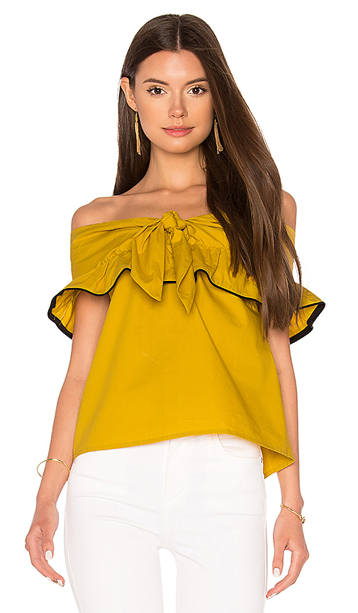 Line & Dot Lorena Off Shoulder Top in Mustard