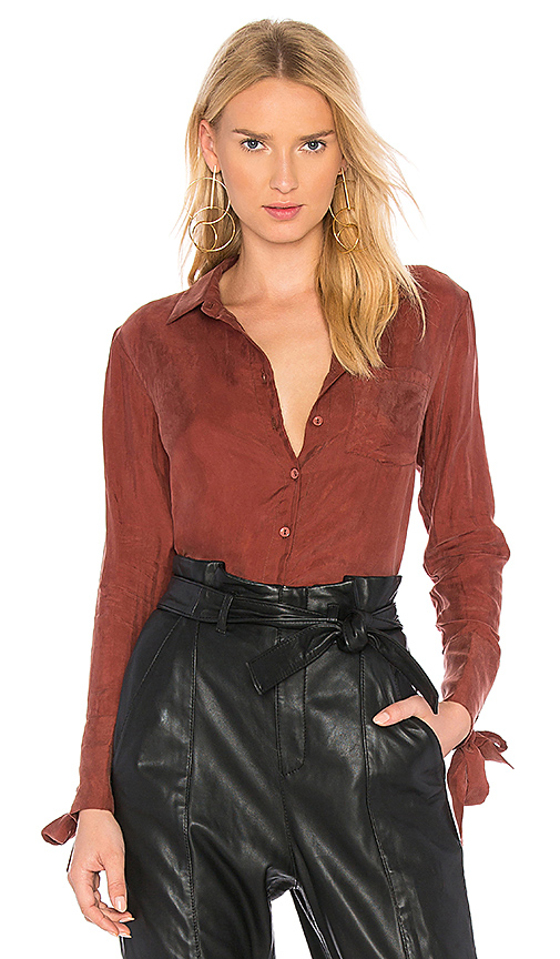 Line & Dot Rue Grommet Shirt In Rust in Rust. - size L also in M,S,XS