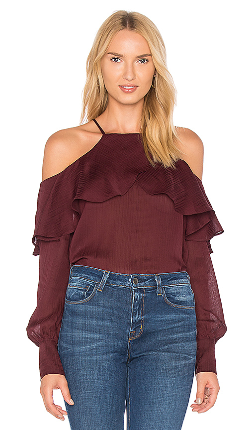 Line & Dot Philipa Cold Shoulder Top in Purple