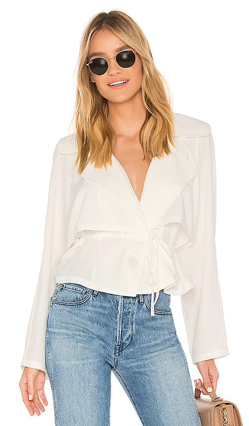 Line & Dot Demi Trench Top in Ivory. - size S also in L,XS