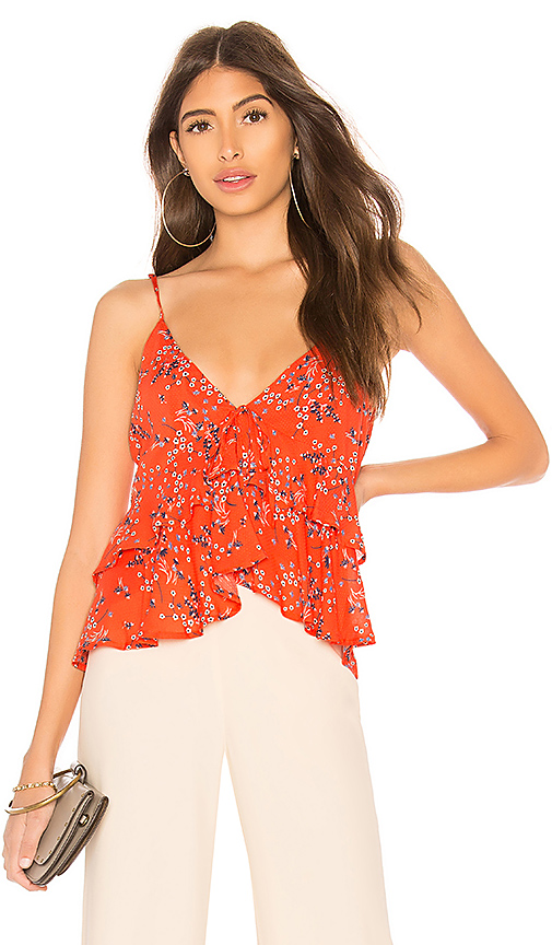 Line & Dot Emiri Top in Red. - size L also in M