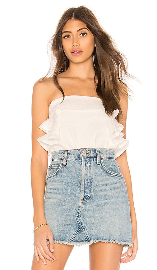 Line & Dot Kaith Smocked Tube Top in White. - size L also in XS,S,M