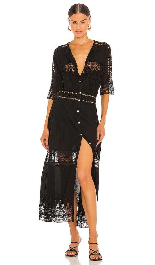 LoveShackFancy Beth Dress in Black
