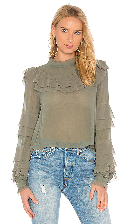 LoveShackFancy Theodora Top in Green