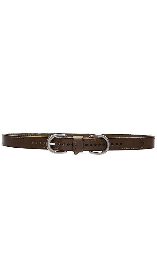Linea Pelle Skinny Stitch Belt in Olive