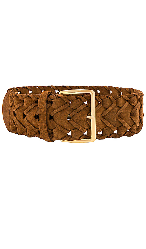 Linea Pelle Suede Link Belt in Brown