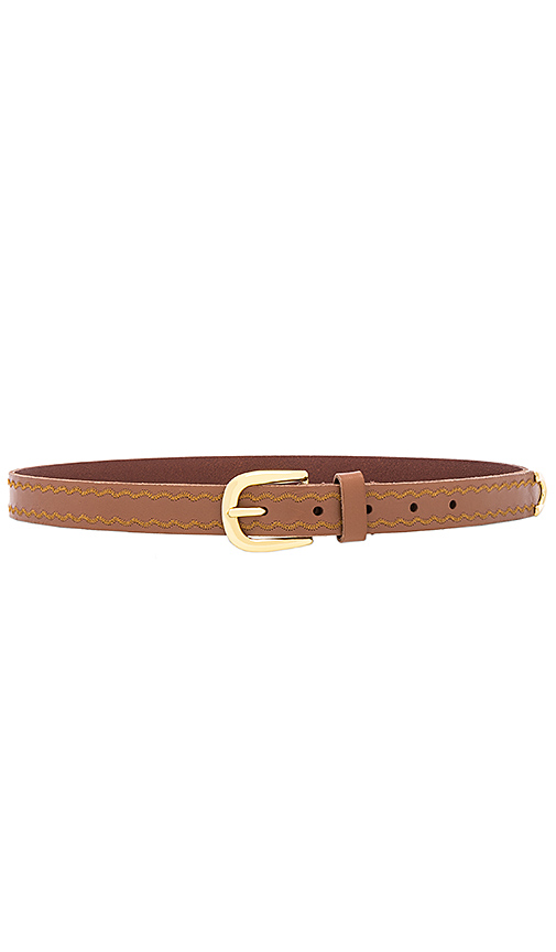 Linea Pelle Western Embroidered Belt in Brown