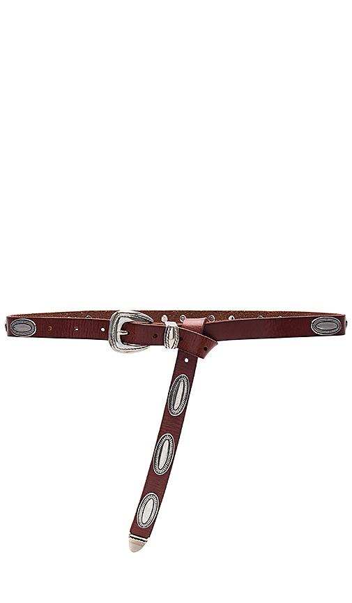 Linea Pelle Oval Stud Belt in Rust
