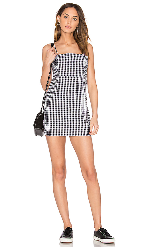 LIONESS Cha Cha Gingham Mini Dress in Black & White